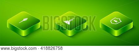 Set Isometric Sword In The Stone, Shield With Crown And Torch Flame Icon. Vector