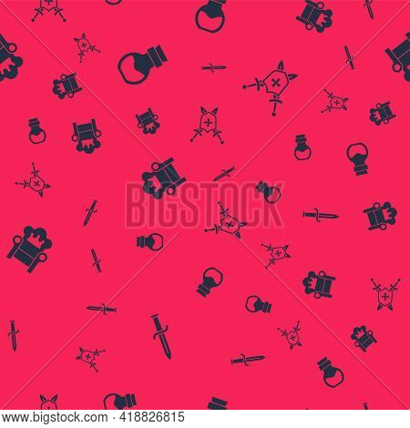 Set Dagger, Poison In Bottle, Medieval Throne And Shield With Swords On Seamless Pattern. Vector