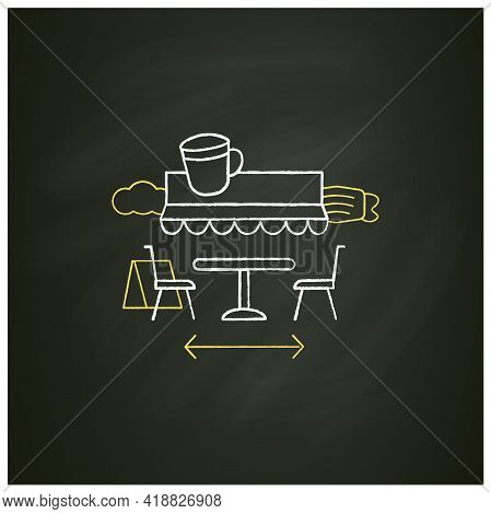 Terrace Cafe Chalk Icon. Dinner In Restaurant Terrace. Forced Distance. Regulation Through Covid19.