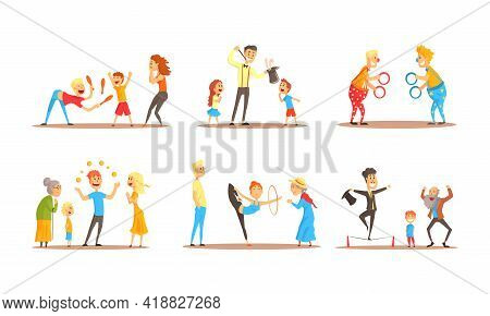 Street Entertainers Showing Performance With Juggling And Acrobatics Vector Set