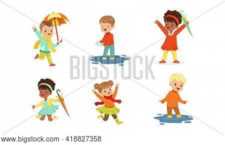 Smiling Little Children Splashing In Puddle Walking In Wet Rainy Day Vector Set