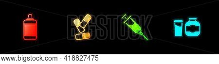 Set Punching Bag, Vitamin Pill, Doping Syringe And Sports Nutrition Icon. Vector