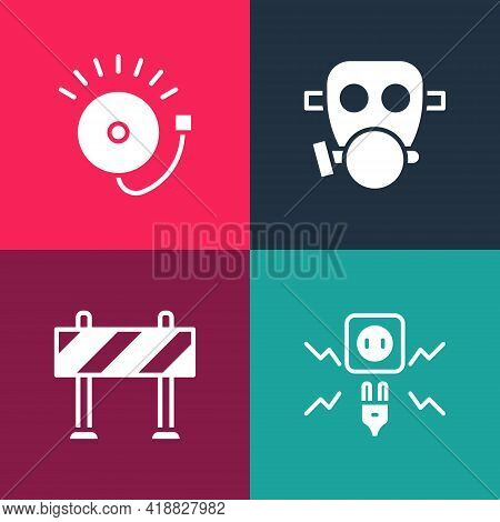 Set Pop Art Electricity Spark, Road Barrier, Gas Mask And Ringing Alarm Bell Icon. Vector