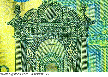 Selective Focus On Detail Of Euro Banknotes. Close Up Macro Detail Of Euro Banknotes. World Money Co