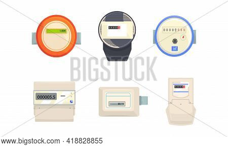 Electric Power, Gas, Water Meter For Measuring Supply And Use Of Public Facilities Vector Set