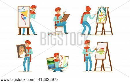 Smiling Artist In Red Beret Painting With Brush On Drawing Easel Vector Set