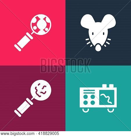 Set Pop Art Spectrometer, Microorganisms Under Magnifier, Experimental Mouse And Dna Research, Searc