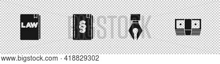 Set Law Book, , Fountain Pen Nib And Bribe Money Cash Icon. Vector