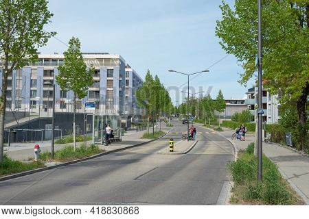 Zurich, Switzerland - April 19th 2020: Bus Stop Built According To The Bus Cape Principle On A Redes