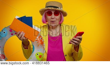 Senior Woman Granny Tourist In Red Sunglasses With Mobile Phone Celebrating Winning Holiday Resort V