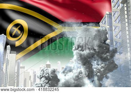 Large Smoke Column In Abstract City - Concept Of Industrial Explosion Or Terrorist Act On Vanuatu Fl