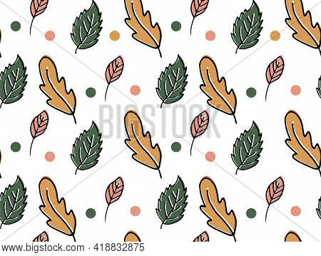 Seamless Pattern Hand-drawn Autumn Leaves On A White Background. Scrapbook, Gift Wrapping Paper, Tex