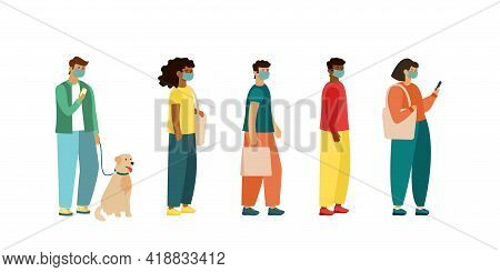 Full Length Of Cartoon Sick People In Medical Masks Standing In Line. Flat Vector Illustration, Side