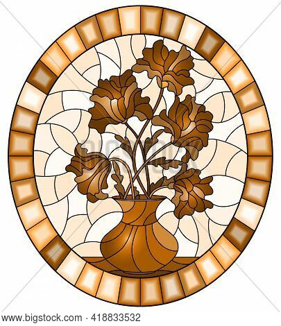 Illustration In Stained Glass Style With Bouquets Of Flowers In A Vase On Table On A Light Backgroun