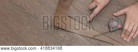 Vinyl Flooring Installation. Easy Installation And Cutting With A Knife, Master Cuts Vinyl Plank Bef