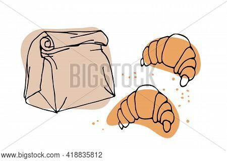 Paper Bag With Croissants Sketch On White Background. Sweet Baked Dessert Pastrie. Dessert Bakery In