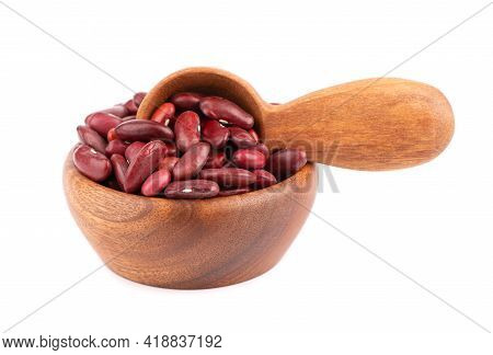 Red Kidney Beans In Wooden Bowl And Spoon, Isolated On White Background. Rajma Or Mexican Bean. Bean