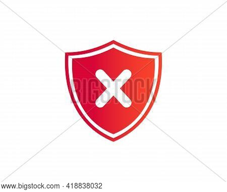 Cross Mark Icon. Deny, Close, Wrong Mark Symbol. Negative Check Mark Logo Flat Icon With Shield Conc