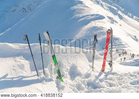 Kasprowy Wierch, Poland 28.01.2021 - Closeup View Of Ski-boards And Ski Poles On A Snow-covered Land