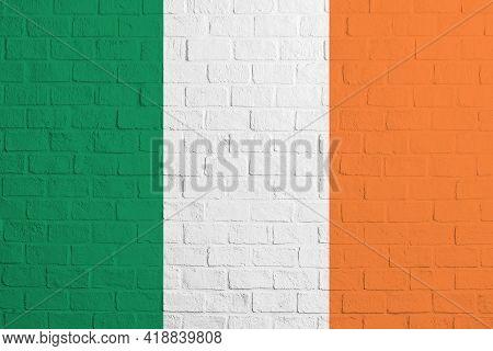 Flag Of Ireland Brick Wall Texture Of The Flag Of Ireland.