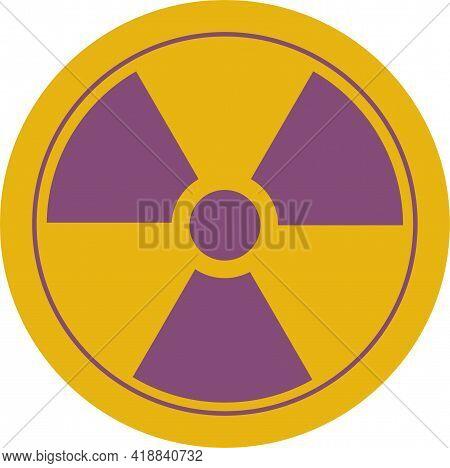Radiation Symbol Conventional Three Blade Design, Osha Mandated Purple Against Yellow Background. Av