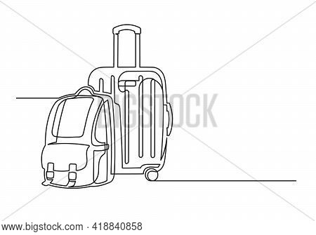Continuous One Line Drawing Of An Vintage Backpack And Suitcase. Backpack And Suitcase Isolated On A