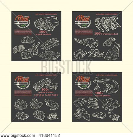 Pieces Of Raw Meat Set. Meat Food On A Black Chalk Board. Design For Butcher Shop Advertising, Fresh