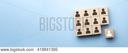 Red Wooden Cube With Person Icon Stand Out From The Crowd On Blue Background. Dissenting Opinion, Di