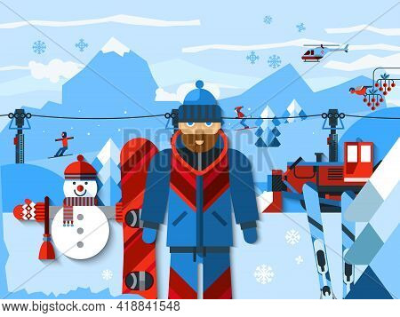 Skiing Concept Flat Color Composition With Skier In Uniform At Ski Resort Winter Landscape With Moun