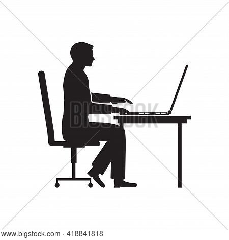 Silhouette Of Man Working At Computer. Programmer Sitting Stooping At Laptop. Hand Drawn Vector Illu