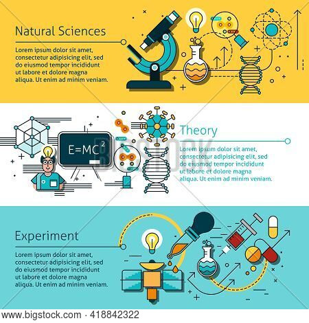 Science Line Horizontal Banners Set With Natural Sciences Symbols Flat Isolated Vector Illustration