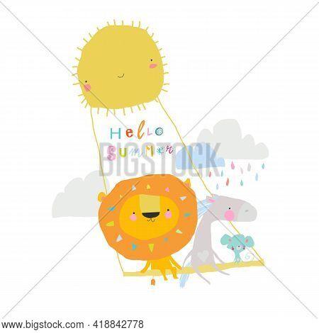 Happy Animals Swinging Swing On Rays Of Sun