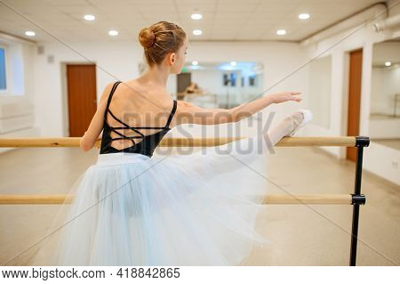 Elegant young ballerina works at barre in class