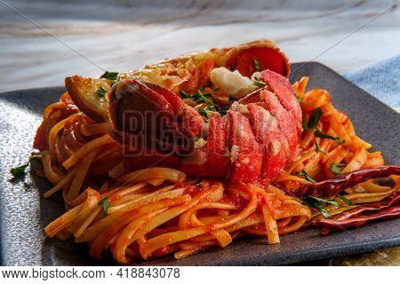 Pan Fried Sliced Italian Lobster Tail Fra Diavolo Linguine