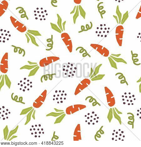 Hand Drawn Seamless Pattern Of Simple Carrot. Doodle Sketch Style. Carrot Pattern For Food Shop, Veg