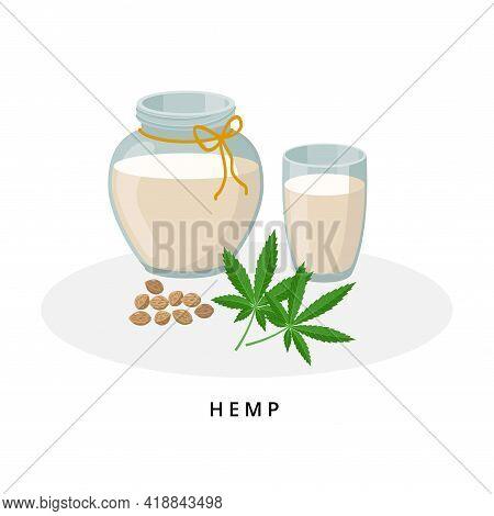 Hemp Milk In Jug And Glass. Plant Milk, Vegan Milk Concept. Vector Illustration Isolated On White Ba