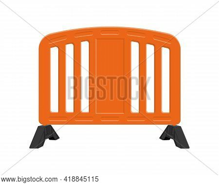 Orange Road Barrier. Plastic Traffic Obstacle Isolated On White Background. Work Zone Safety. Warnin