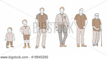 Cycle Of Man Life Vector Cartoon Outline Illustration. Male Character Growing Up And Aging. Handsome