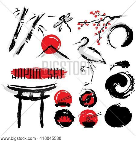 Japanese Sumie Ink Wash Black With Red Accent Brush Painting Pictograms Composition Ancient Abstract