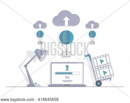 Video Loading On Laptop Vector Flat Illustration. Computer Screen With Load Screen, Cloud Storage Si