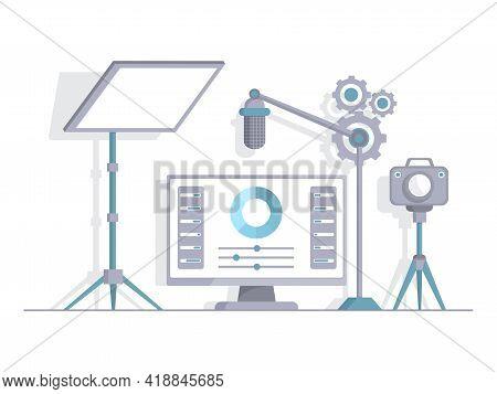 Recording Studio Vector Flat Illustration. Light Screen, Microphone, Video Camera For Making Audio O