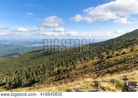Picturesque View Of Polish Giant Mountains With Jelenia Gora Town In The Background