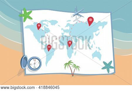 Planning Summer Vacation, Journey Vector Flat Illustration. World Map With Location Points And Trave