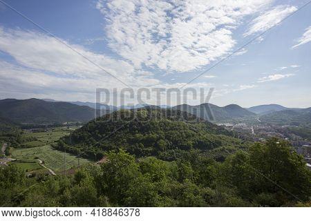 Olot, Spain, May 1, 2020 - Volca Montsacopa. Garrocha Volcano Nature Park