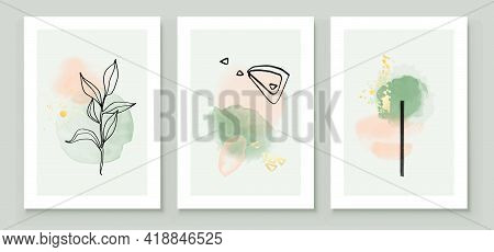 Teal And Peach Abstract Watercolor Compositions. Set Of Soft Color Painting Wall Art For House Decor