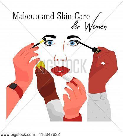 Visagiste Artists Apply Makeup On Female Face.