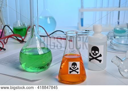 Toxic Lab Production Of Orange Poison Juice Liquid. Toxicology Lab Test Of Orange Juice. Orange Juic