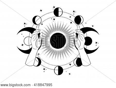 Mystical Drawing Woman Hands Hold The Triple Goddess, Stars, Moon Phases, Solar System. Wicca And Pa