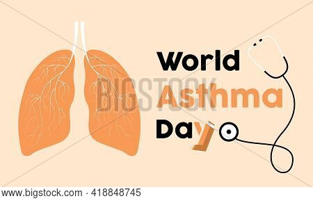 World Asthma Day Prevention And Awareness Vector Concept. Banner, Poster World Asthma Day Awareness