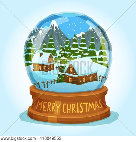 Winter Landscape Of Village Spruces And Ice Peak Mountains Inside Merry Christmas Snow Globe Card Ve
